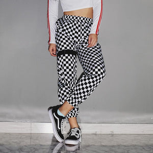 Checkered fashion joggers pants (1462464380971)