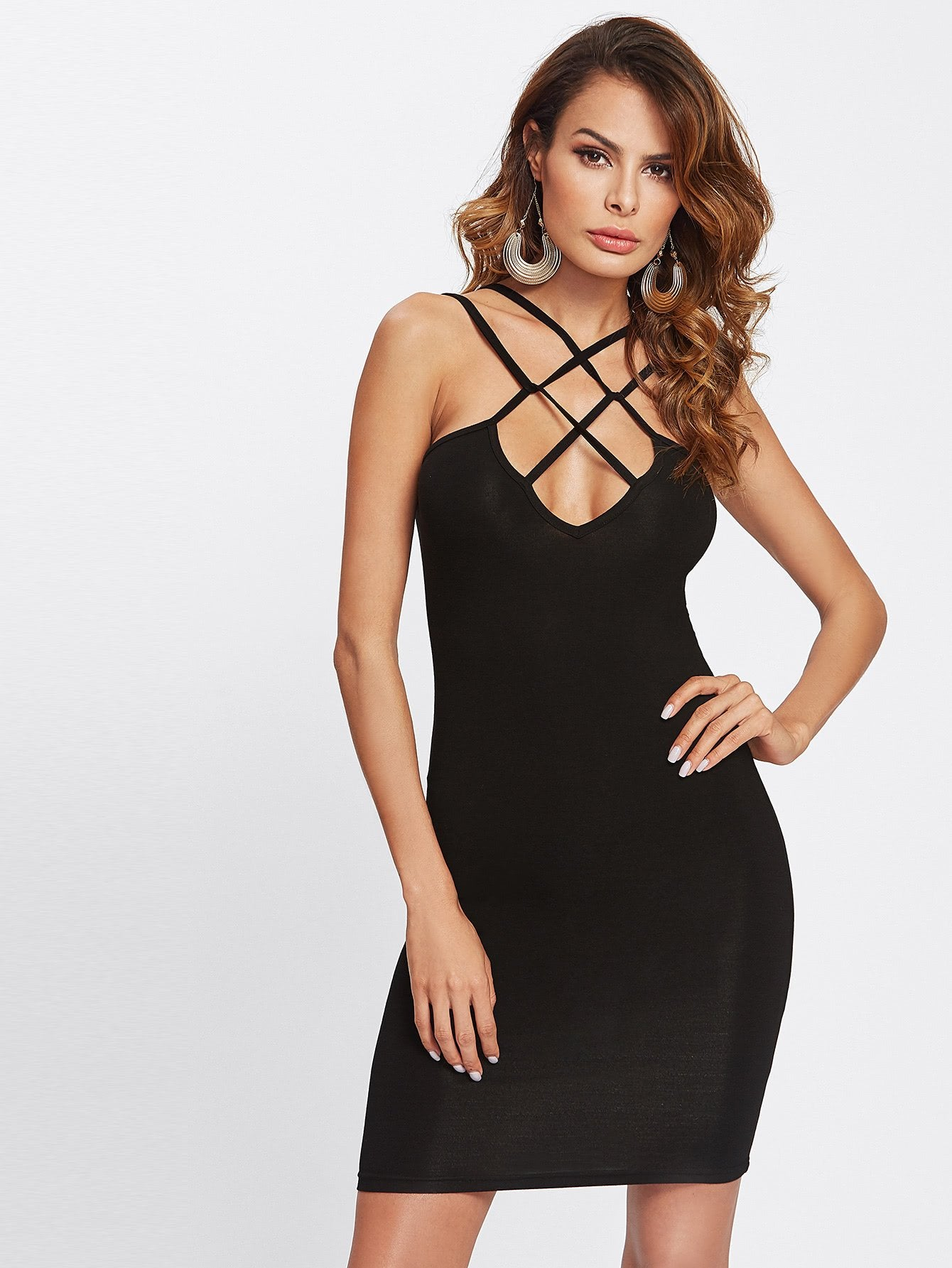 .Cross front strappy bodycon dress (1462508224555)