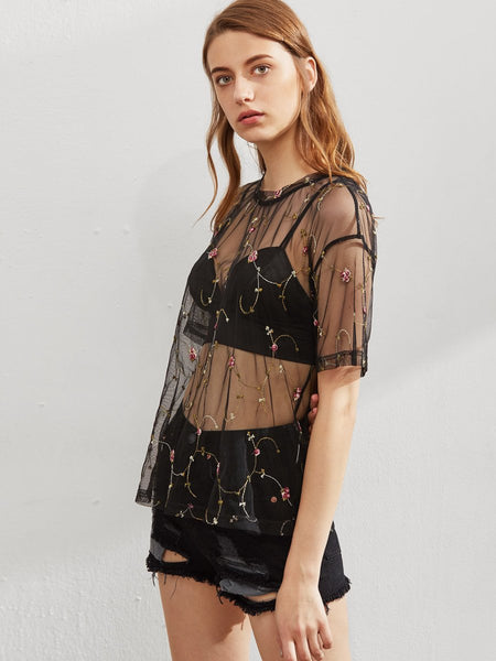 Sheer flower design retro top (1462459695147)