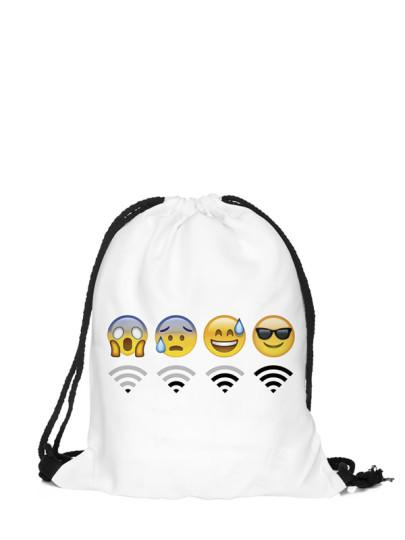 Emoji WiFi drawstring backpack (1462455566379)