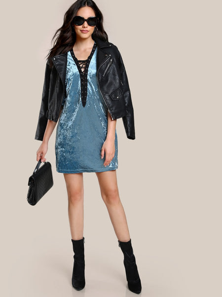 Velvet lace up style tshirt dress (1462462414891)