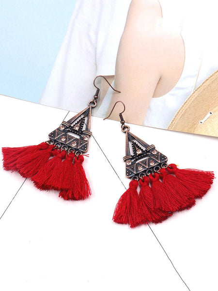 Fringe vintage statement earrings