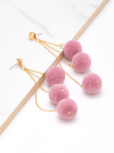 Pom Pom dangling earrings (1462507995179)