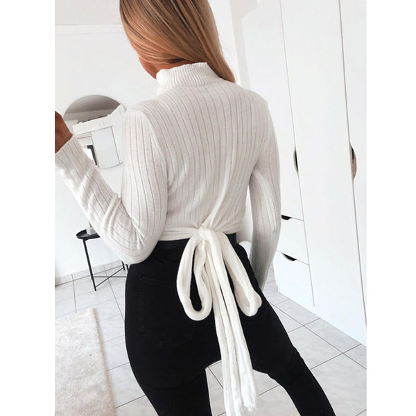 Ladies turtle neck long sleeve crop wrap tie sweater top (4357134942291)