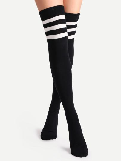 Knee high 3 stripe sports socks (1462518874155)