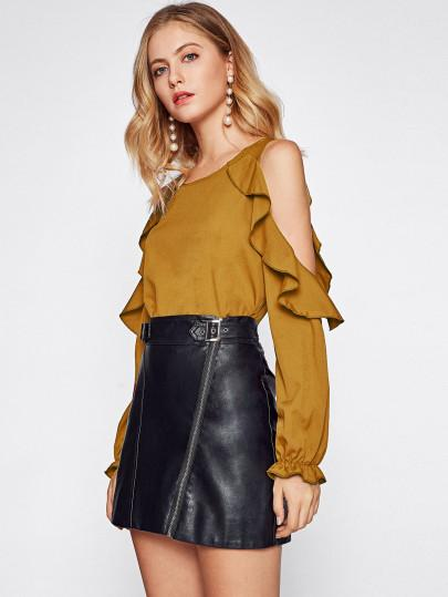 Ruffle cold shoulder fashion blouse (1462520283179)
