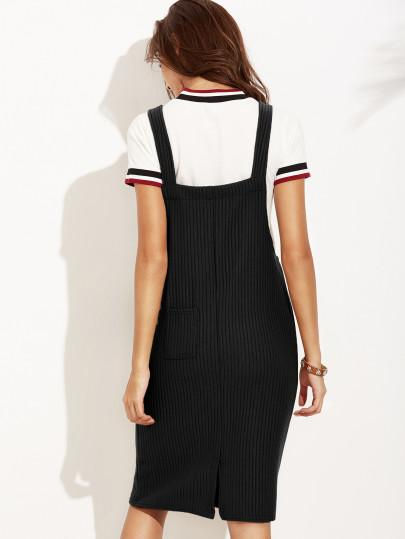 Black ribbed overall dress