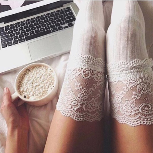 Warm knitted Lace detail over the knee stocking winter socks (4357170528339)