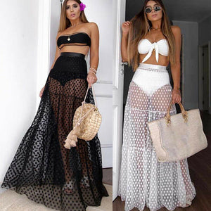 Boho beach polka dot sheer mesh coverup maxi skirt (1787145224235)