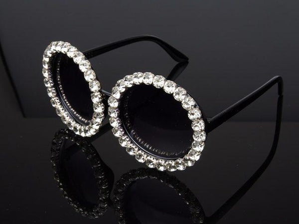 Rhinestone bling circle oversize luxury sunglasses (1462488629291)