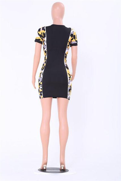 Camo sporty zip front bodycon dress (1462459007019)
