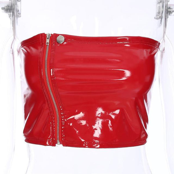 Latex leather style zipper tube crop top (1462458843179)