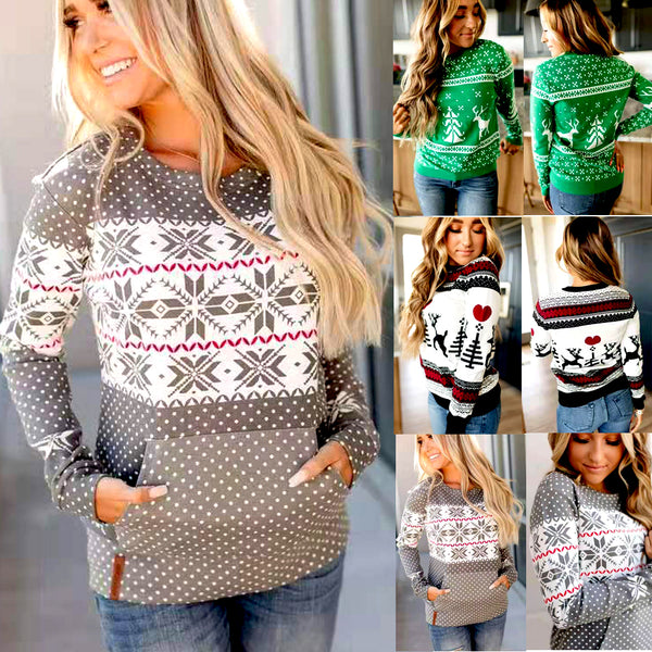 Snowflake holiday Christmas pullover sweater (4357121605715)