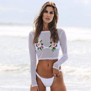 Rose detail long sleeve 2 piece bikini set (1462478929963)
