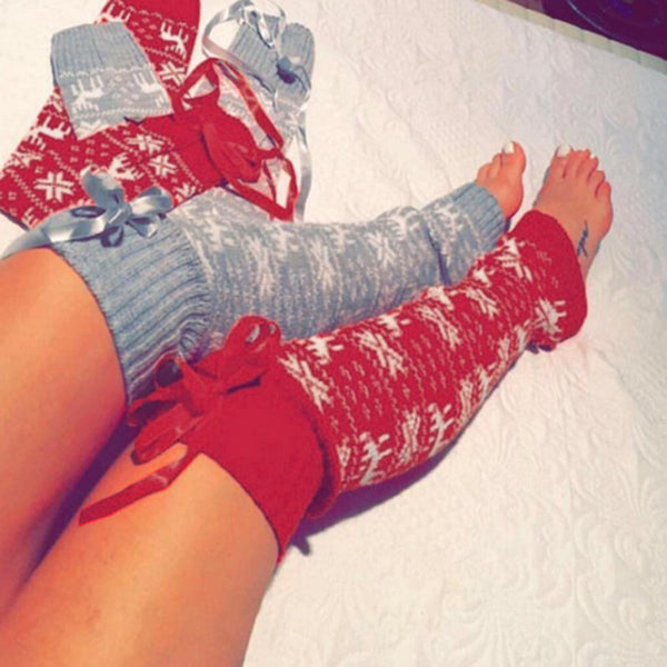 Christmas snowflake knitted warm over the knee boot cuff stocking socks (4357168726099)