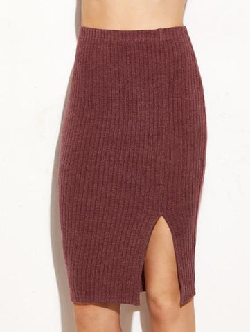 Ribbed side split bodycon skirt (1462518743083)