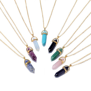 Women Hexagonal Column Quartz pendant Necklaces Natural Stone Crystal Necklace (4357867569235)