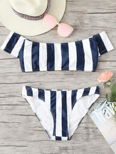 Stripe off the shoulder 2 piece bikini swimsuit set (1462470148139)