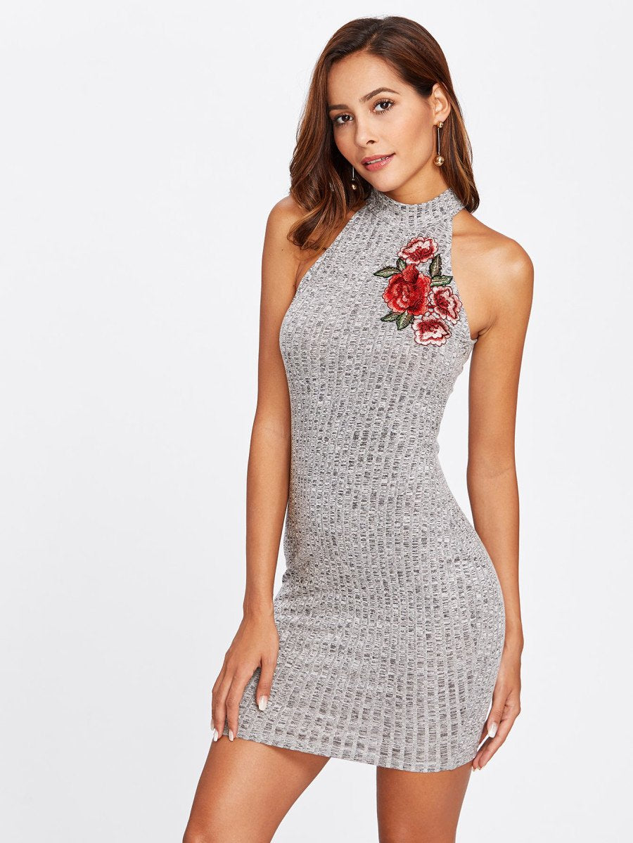 Rose embroidery high neck bodycon dress