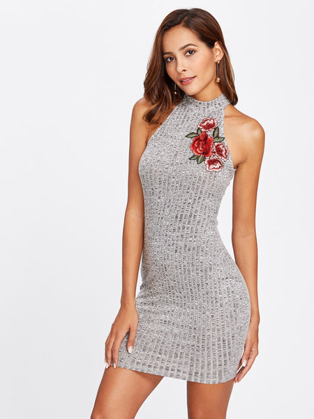 Rose embroidery high neck bodycon dress (1462461923371)