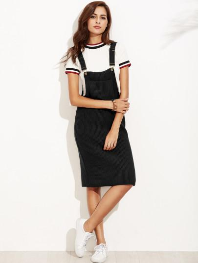 Black ribbed overall dress (1462480273451)