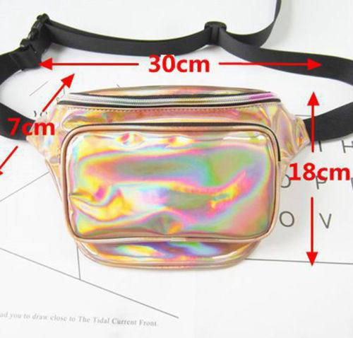 90s retro Iridescent fanny pack waist belt bag (1462481911851)