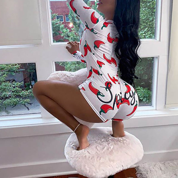 Comic comfy Deep V Neck Bodycon Romper bodysuit short Pajamas onesie