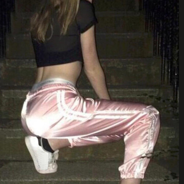 Old school satin side stripe joggers pants (1462464774187)