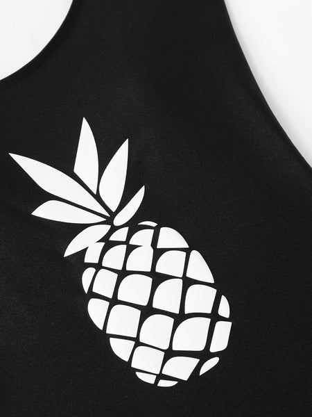 Pineapple print one piece monokini swimsuit (1462506225707)