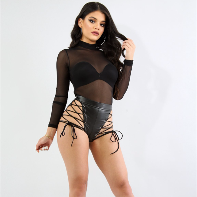"""Caution"" leather style lace up cutout shorts (1462458581035)"