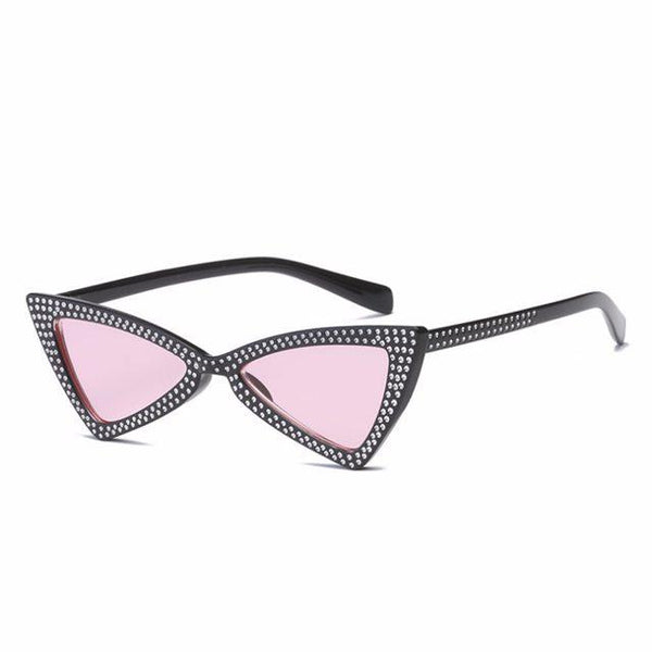 Small Vintage diamond rhinestone cateye sunglasses (1462481879083)