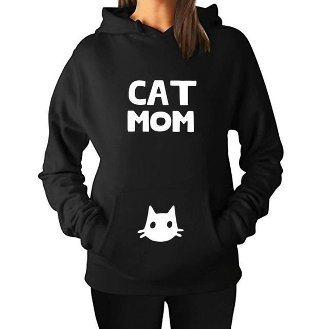 Cat mom printed pullover hoodie sweater (1462476537899)