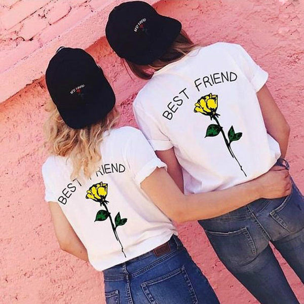 Best friends BFF rose print matching tshirt (1518504214571)
