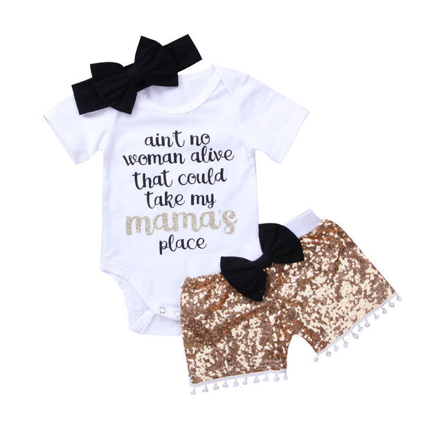 3pcs Adorable baby sequins pants and onesie bow set (1793036615723)