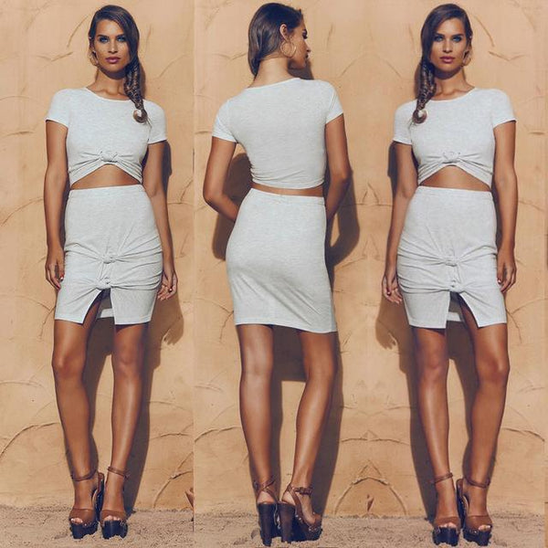 Sexy 2 piece knot detail crop top skirt set - Iconic Trendz Boutique (1462532866091)
