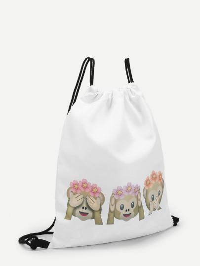 Monkey emoji drawstring backpack (1462455697451)