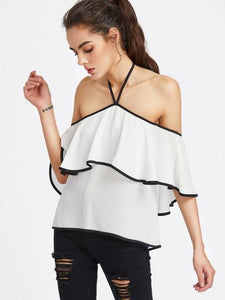 Off the shoulder detail ruffle blouse (1462520414251)