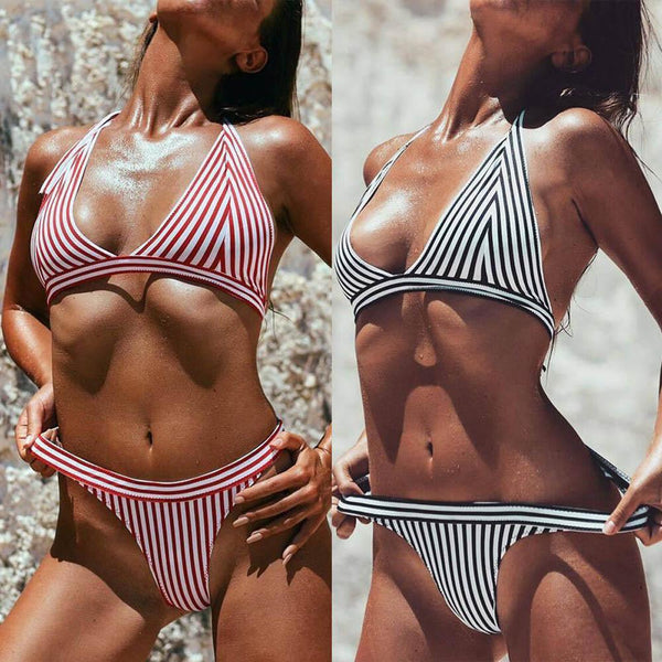 """All in"" Stripe 2 piece bikini swimwear (1462457597995)"