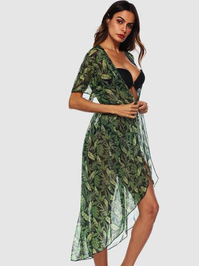 Tropical Leaf print light bikini coverup dress (1462471557163)