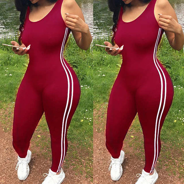 Trendy Side stripe bodycon jumpsuit bodysuit