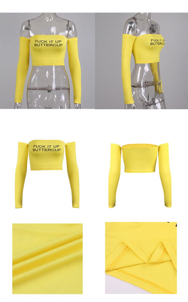 F it up buttercup yellow off the shoulder crop top