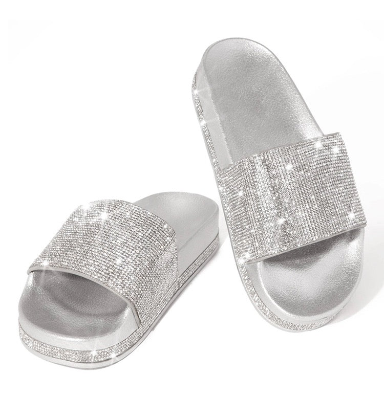 Princess rhinestone Diamond detail slides slippers