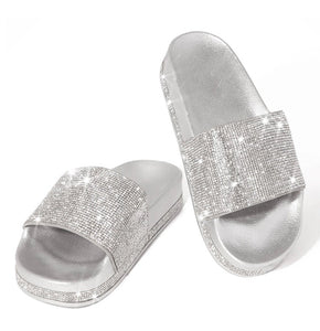 Princess Luxury rhinestone Diamond detail slides slippers