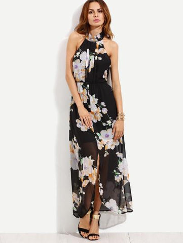 """Petunia"" Ladies Floral halter split maxi dress (1462480535595)"