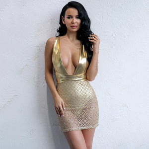 """Shining"" deep v strappy sheer bodycon party dress (1462456287275)"