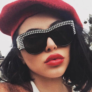 """Walkway"" rhinestone diamond detail oversize sunglasses"