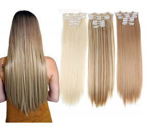 16 piece heat resistant synthetic hair extension straight hair clips clipins (4350275977299)