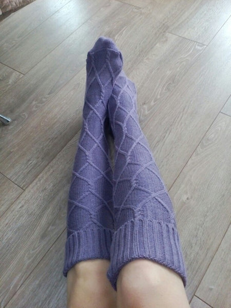 Knitted warm crochet over the knee boot stocking socks (4357171445843)