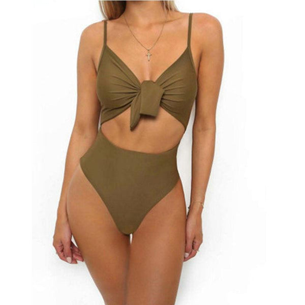 """Nail"" cutout tue front one piece monokini swimsuit"