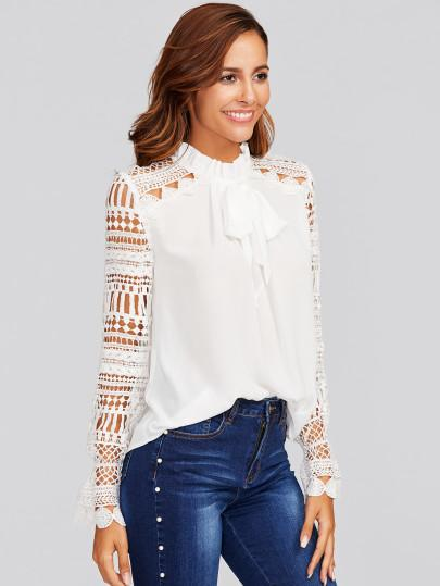 Classic white tie neck lace sleeve top (1462513303595)